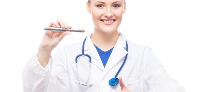 Young, professional and cheerful doctor woman with an electronic cigarette isolated on white